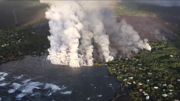 A helicopter view from Monday morning shows lava  entering the ocean at Kapoho Bay.
