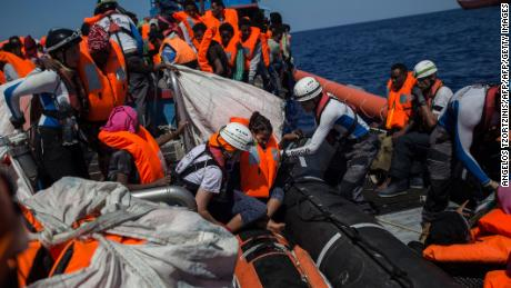 Migrants are rescued by the Aquarius NGO ship on August 2, 2017.