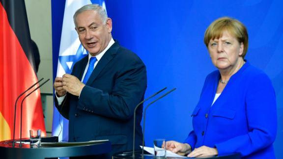 Netanyahu and Merkel address a news conference after meeting at the Chancellery in Berlin on Monday.