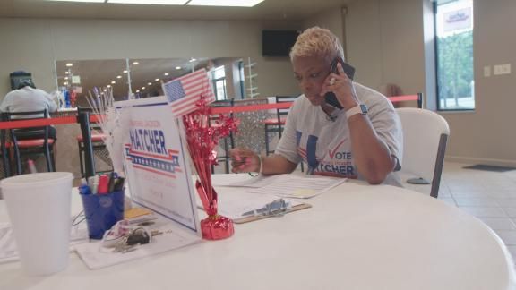Marshell Jackson Hatcher makes phone calls to rally support for her candidacy for a judicial seat in Jefferson County, Alabama.