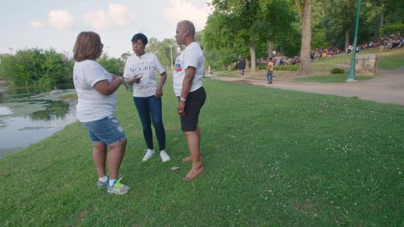 Clotele Hardy Brantley, Jameria Moore and Marshell Jackson Hatcher discuss their day campaigning on Sunday, June 3.