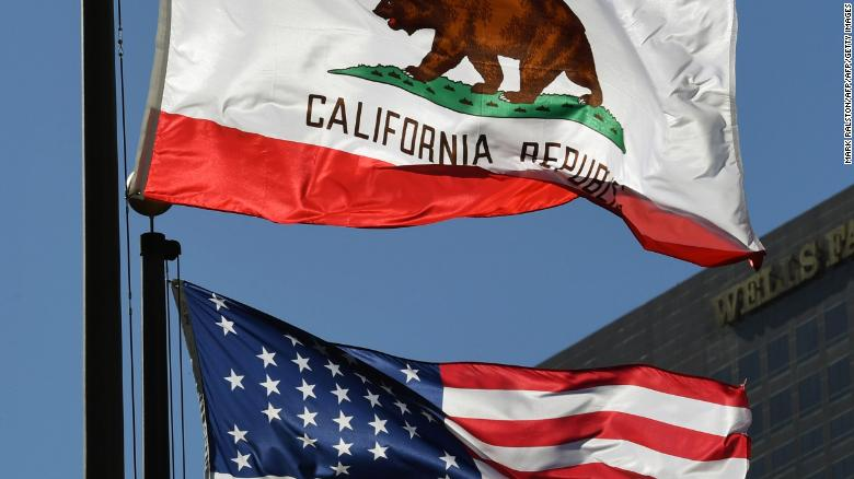 The California State flag flies outside City Hall, in Los Angeles, California on January 27, 2017. A campaign by Californians to secede from the rest of the country over Donald Trump's election is gaining steam with suporters given the green light to start collecting signatures for the measure to be put to a vote.    / AFP / Mark RALSTON        (Photo credit should read MARK RALSTON/AFP/Getty Images)