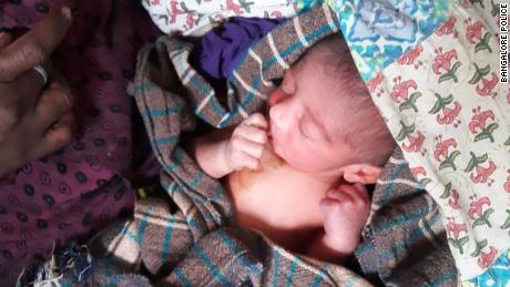 A baby boy has survived with the help of police officers after being abandoned in Bangalore, India.
