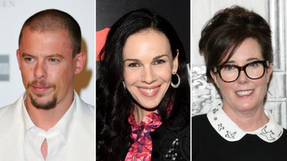 From left, Alexander McQueen, L'Wren Scott and Kate Spade