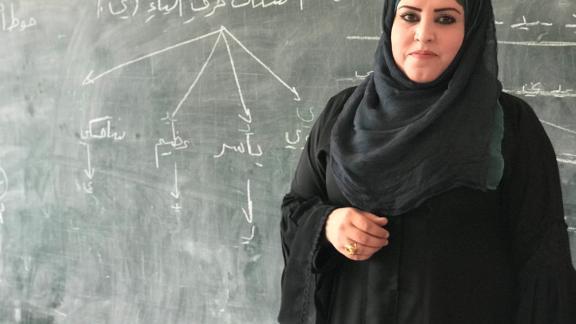 Shamsa al Basiq, a teacher in a recently revived school in Raqqa.