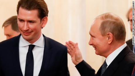 Putin and Kurz enter a hall before a press conference following their talks at the Kremlin in Moscow in January.