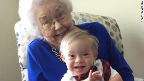 The original Gerber baby, Ann Turner Cook, meets last year's Gerber baby, Lucas.