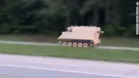 Police are pursuing an Armored Personnel Carrier that was stolen from Fort Pickett. This video was taken along 460 in Dinwiddie, VA.