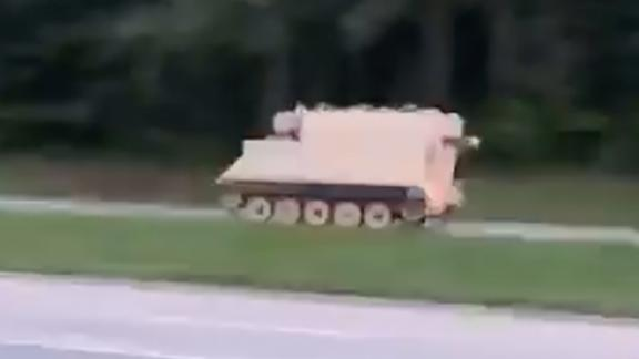 A resident captured this image of the stolen armored personnel carrier in Dinwiddie, Virginia.