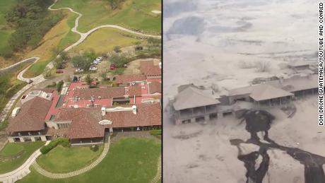 These aerial photos show the Hotel La Reunion before, left, and after Sunday's deadly volcanic eruption.