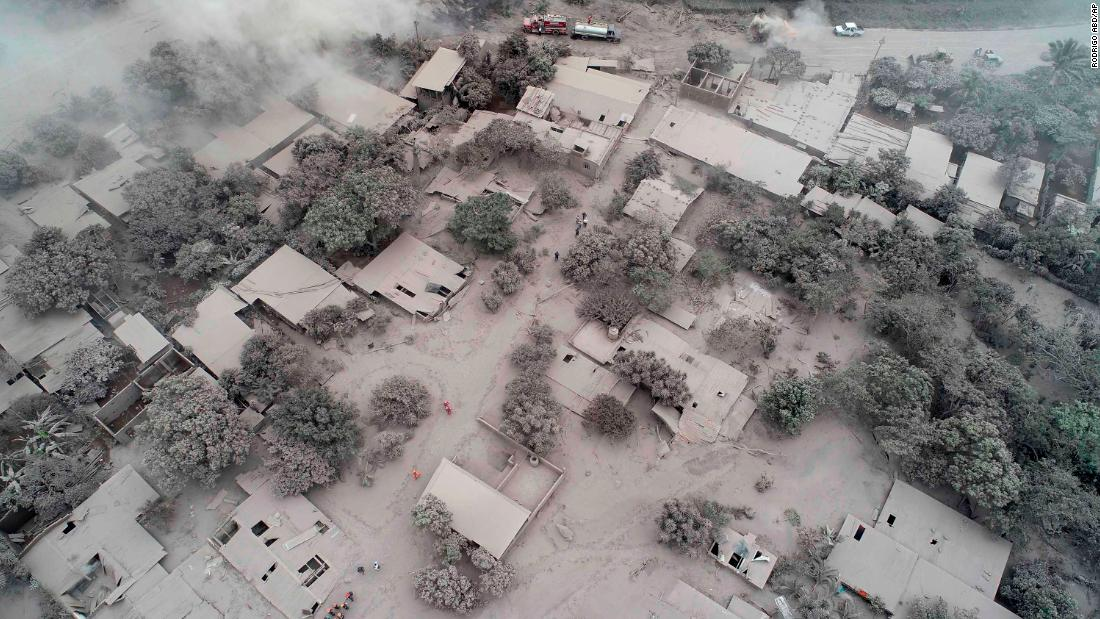An aerial view shows rescue workers searching for El Rodeo residents on June 5.