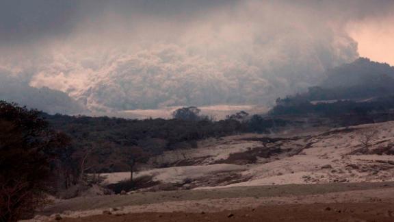 An ash cloud advances on Tuesday, June 5.