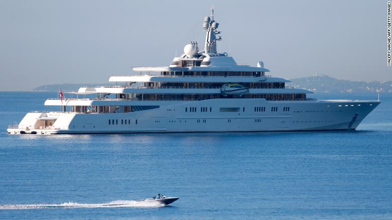 The yacht of Russian billionaire Roman Abramovitch, the Eclipse, is seen moored on September 4, 2013 near the Nice's harbor, French riviera. The Eclipse is the world's second largest private yacht.  AFP PHOTO / VALERY HACHE        (Photo credit should read VALERY HACHE/AFP/Getty Images)
