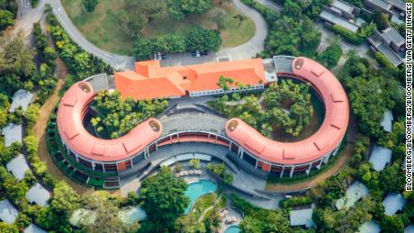 The Capella Singapore Hotel stands on Sentosa Island in this aerial photograph taken above Singapore, on Thursday, July 2, 2015.