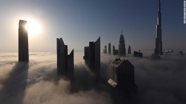DUBAI, UNITED ARAB EMIRATES - SEPTEMBER 27:  General view of Burj Khalifa during a heavy fog on September 27, 2017 in Dubai, United Arab Emirates.  (Photo by Tom Dulat/Getty Images)