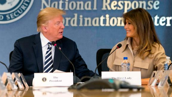 First lady Melania Trump accompanies her husband, US President Donald Trump, for a visit to the headquarters of the Federal Emergency Management Agency on Wednesday, June 6. It was the first time the first lady was seen in public since undergoing benign kidney surgery in May.