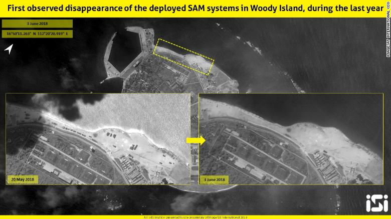 ImageSat International said China has removed missile launchers from the contested Woody Island in the South China Sea.