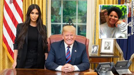 Kim Kardashian, President Donald Trump and an indet of Alice Johnson