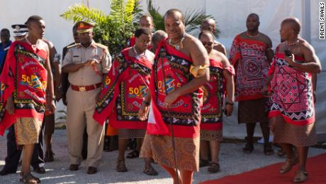King Mswati III arrives at the opening of a Ministry of Health facility.