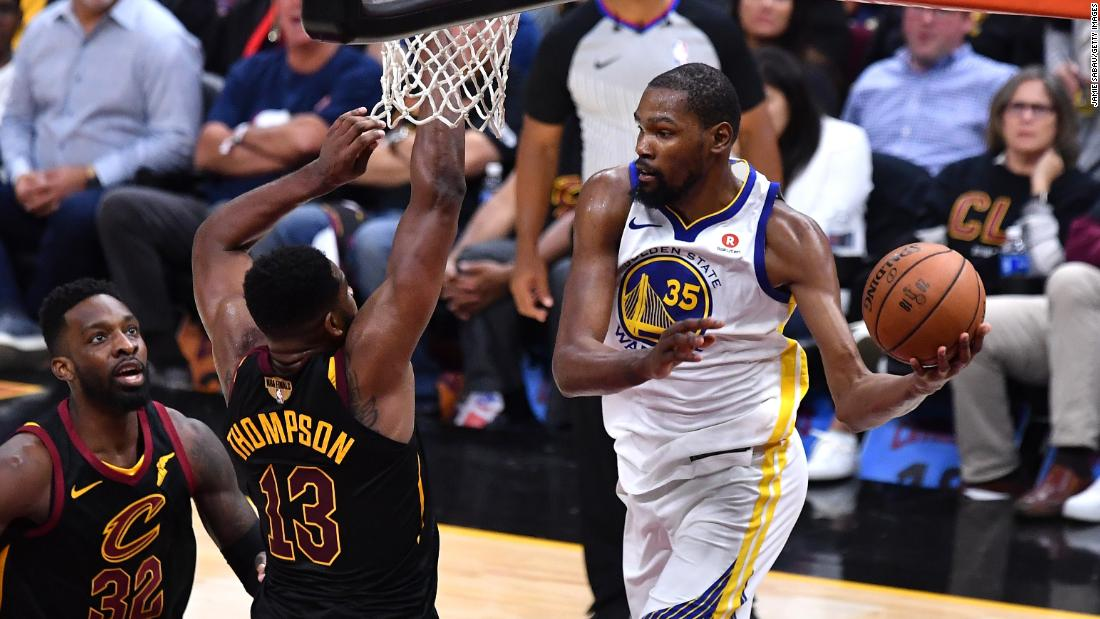 Durant drives to the hoop during Game 3 of the NBA Finals on Wednesday, June 6. Durant's 43 points led the Warriors to a 110-102 victory.