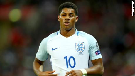 LONDON, ENGLAND - OCTOBER 05:  Marcus Rashford of England in action during the FIFA 2018 World Cup Group F Qualifier between England and Slovenia at Wembley Stadium on October 5, 2017 in London, England  (Photo by Clive Rose/Getty Images)