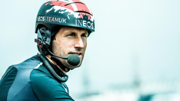 Ben Ainslie instructs crew members on board