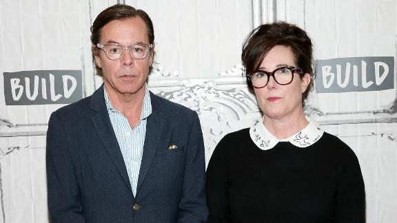 Andy Spade (L) and Kate Spade attend Build Series Presents Kate Spade and Andy Spade Discussing Their Latest Project Frances Valentine at Build Studio on April 28, 2017 in New York City.