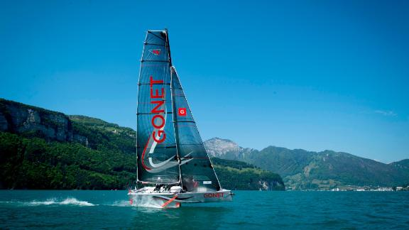 The yacht is eight meters long and weighs 850 kilograms with a crew of four. It can reach speeds of 25 knots (50km/h).