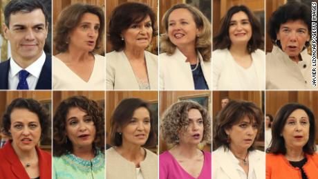 A combination of pictures shows Spanish Prime Minister Pedro Sanchez and his new eleven female ministers.