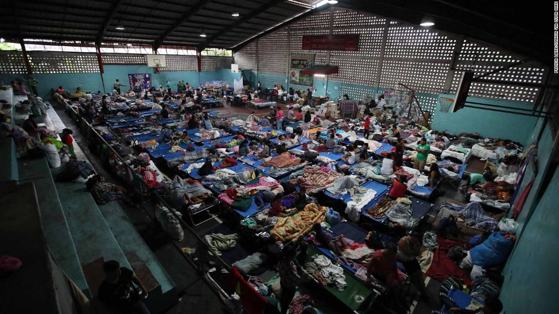 People take refuge at a shelter in Escuintla on June 6.