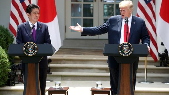 WASHINGTON, DC - JUNE 07: U.S. President Donald Trump (R) and Japanese Prime Minister Shinzo Abe speak to the media during a news conference in the Rose Garden at the White House, on June 7, 2018 in Washington, DC. The two leaders met to discuss next week's summit with North Korea. (Photo by Mark Wilson/Getty Images)