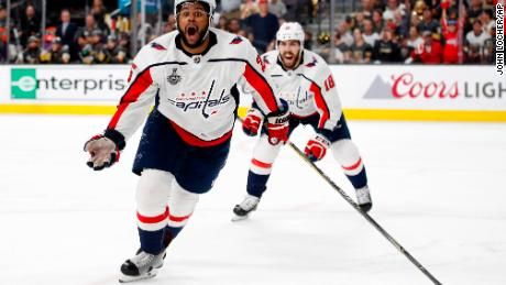 Washington Capitals Right Wing Devante Smith Pelly Left Celebrates His Goal During The