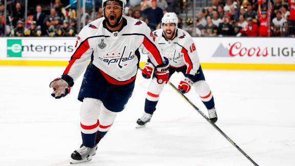 Washington Capitals right wing Devante Smith-Pelly, left, celebrates his goal during the third period in Game 5 of the NHL hockey Stanley Cup Finals against the Vegas Golden Knights.