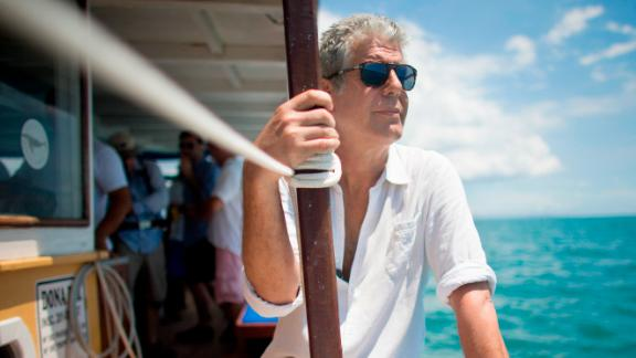 Anthony Bourdain shooting 'Anthony Bourdain Parts Unknown' on location in Salvador, Brazil on January 9, 2014.