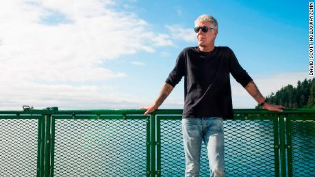4c752e83a9 Anthony Bourdain on the ferry to Vashon Island while filming Parts Unknown  in Seattle