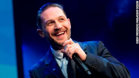Tom Hardy on stage at The Prince's Trust Awards at the London Palladium on March 6.