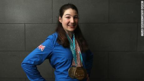 Menna Fitzpatrick poses with her medals on her return from the PyeongChang 2018 Paralympic Winter Games in March.
