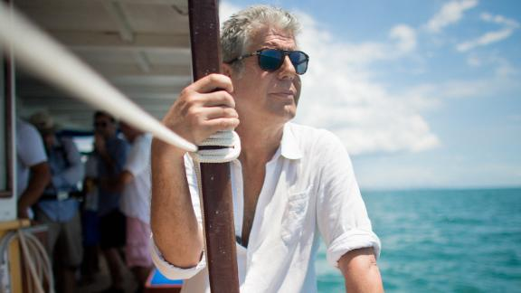 "Anthony Bourdain shoots an episode of his CNN show ""Parts Unknown"" in Salvador, Brazil, in 2014."
