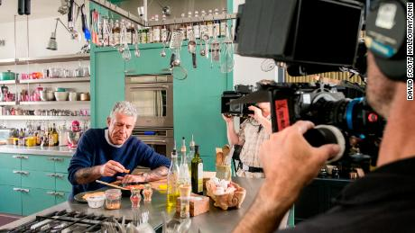"LONDON, ENGLAND, UK - JUNE 26: Chef Nigella Lawson makes a ""hangover cure"" breakfast for Anthony Bourdain at her home in London, England on June 26, 2016."