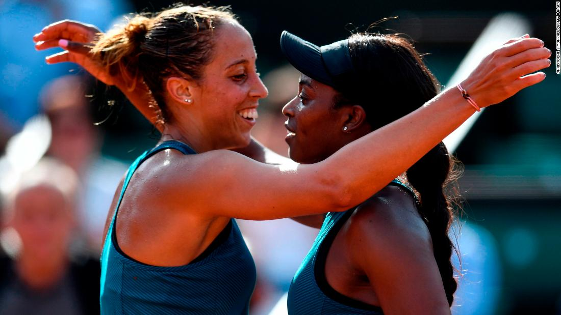 Reigning US Open champion Stephens (right) beat fellow American Madison Keys to reach her first French Open final.