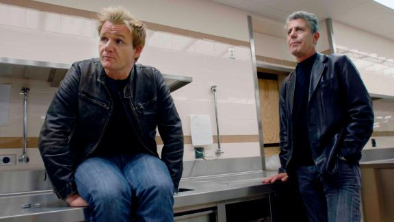 "Bourdain joins another celebrity chef, Gordon Ramsay, in the kitchen of ""The London,"" Ramsay"