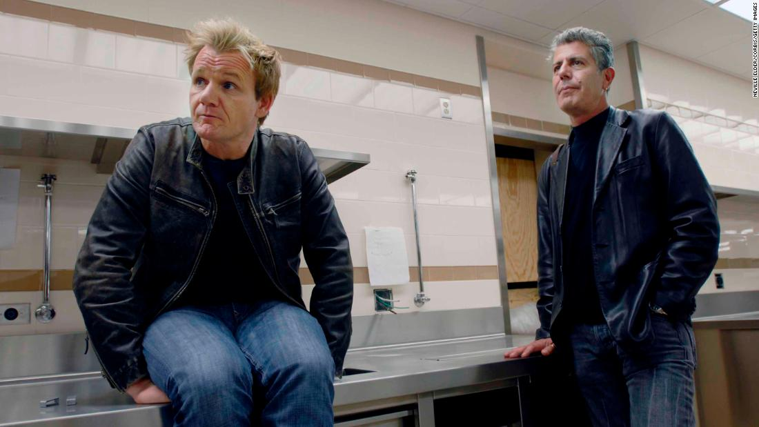 "Bourdain joins another celebrity chef, Gordon Ramsay, in the kitchen of ""The London,"" Ramsay's former restaurant in New York, in 2006. ""Stunned and saddened by the loss of Anthony Bourdain,"" Ramsay said on Friday. ""He brought the world into our homes and inspired so many people to explore cultures and cities through their food."""