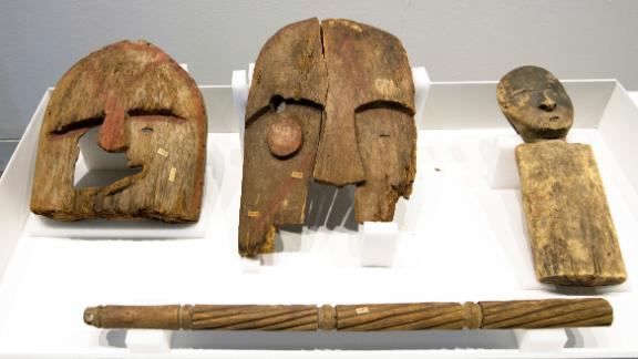 Historical items, plundered from the graves of indigenous Alaskans, displayed at the Ethnological Museum in Berlin on May 16.