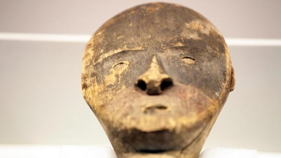 A wooden figure from the Chugach tribe is displayed at the Berlin museum.