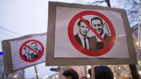 A placard depicting Austrian leader Sebastian Kurz (left) and Heinz-Christian Strache, chairman of the FPÖ, at a protest in Vienna in January.