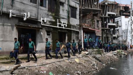 Bangladesh police conduct a drive against narcotics in Dhaka on June 5, 2018.
