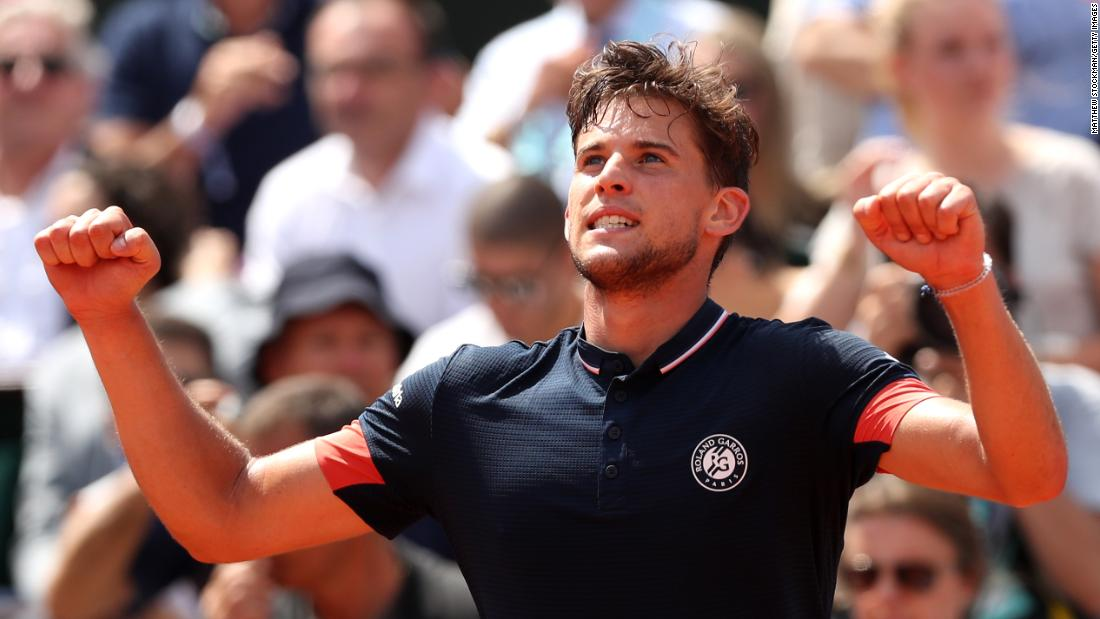 Austria's Dominic Thiem is the pretender to Rafael Nadal's claycourt throne after booking a place in his first French Open final with victory against Marco Cecchinato.