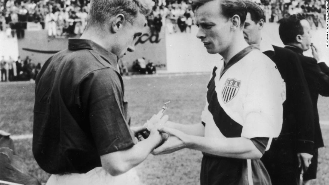 <strong>No. 1: USA 1-0 England, 1950</strong><br />England captain Billy Wright (L) and U.S. captain Ed McIlvenny exchange souvenirs at the start of their match on June 29, 1950 in Belo Horizonte, Brazil. Led by a semi-professional squad, America's win is statistically ranked as the all-time greatest upset in World Cup history by Gracenote.