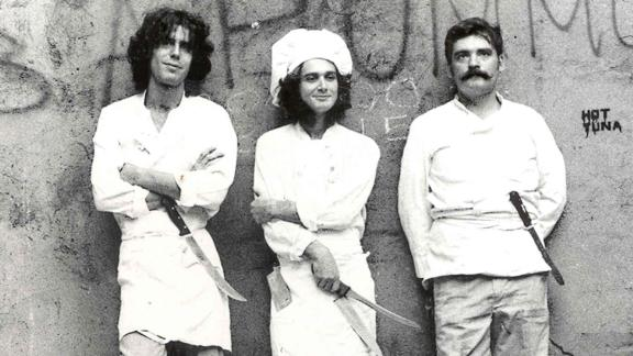 Bourdain, left, is seen in the 1970s with fellow chefs in Provincetown, Massachusetts. He later went to culinary school before working at various restaurants in New York City.