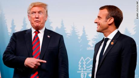 President Donald Trump meets with French President Emmanuel Macron during the G-7 summit Friday, June 8, 2018, in Charlevoix, Canada. (AP Photo/Evan Vucci)